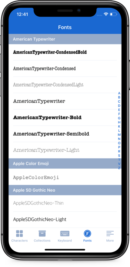 CharMap — Unicode character viewer and keyboard for iOS